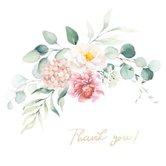 Watercolor floral illustration - bouquet with bright pink vivid flowers, green leaves, for wedding stationary, greetings, wallpapers, fashion, backgrounds, textures, DIY, wrappers, cards.