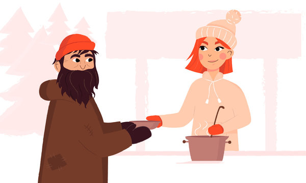 Soup kitchen charity event during winter. Young female volunteer serves hot food to a homeless man. Acts of kindness.