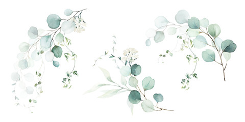 Watercolor floral illustration set - green leaf branches collection, for wedding stationary, greetings, wallpapers, fashion, background. Eucalyptus, olive, green leaves, etc. Fototapete