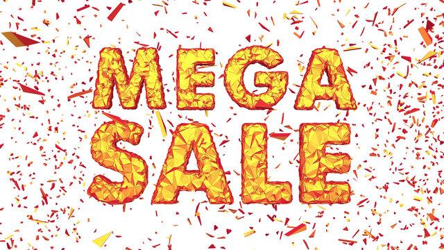 Mega Sale Polygonal Cracked 3D Lettering Horizontal Isolated White Background