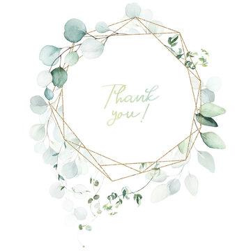 Watercolor floral illustration - leaves and branches wreath / frame with gold geometric shape, for wedding stationary, greetings, wallpapers, fashion, background. Eucalyptus, olive, green leaves, etc.
