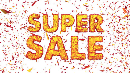 Super Sale Polygonal Cracked 3D Lettering Horizontal Isolated White Background