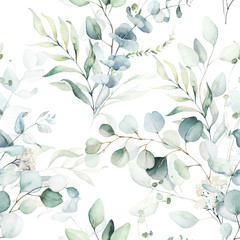 Tuinposter Kunstmatig Seamless watercolor floral pattern - green leaves and branches composition on white background, perfect for wrappers, wallpapers, postcards, greeting cards, wedding invitations, romantic events.