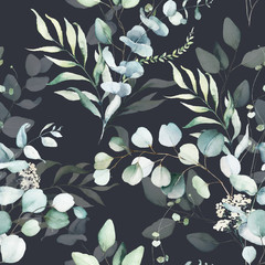 Seamless watercolor floral pattern - green leaves and branches composition on black background, perfect for wrappers, wallpapers, postcards, greeting cards, wedding invitations, romantic events.