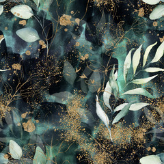 Seamless pattern. Floral branch on gold, dark, navy, purple, emerald, green and turquoise watercolor texture design. Rough brush stroke. Illustration. Liquid, water, fluid, cloud, abstract background.