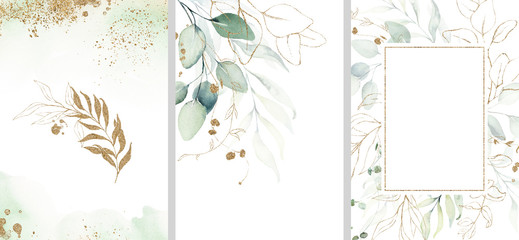 Pre made templates collection, frame - cards with gold and green leaf branches. Wedding ornament concept. Floral poster, invite. Decorative greeting card, invitation design background, birthday party. Fototapete