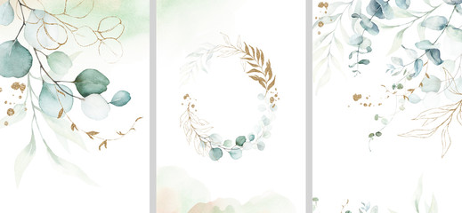 Obraz Pre made templates collection, frame - cards with gold and green leaf branches. Wedding ornament concept. Floral poster, invite. Decorative greeting card, invitation design background, birthday party. - fototapety do salonu