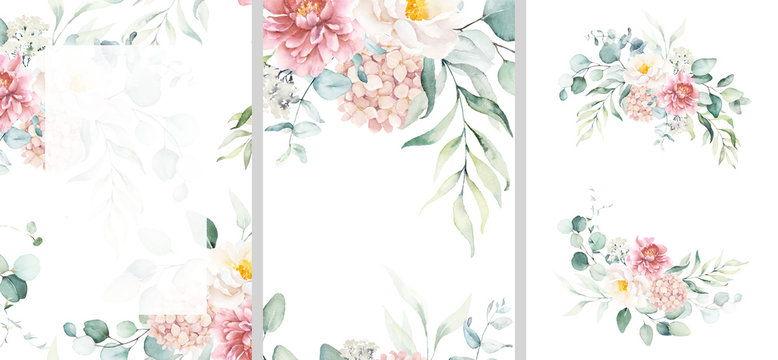 Pre made templates collection, frame - cards with pink flower bouquets, leaf branches. Wedding ornament concept. Floral poster, invite. Greeting card, invitation design background, birthday party.