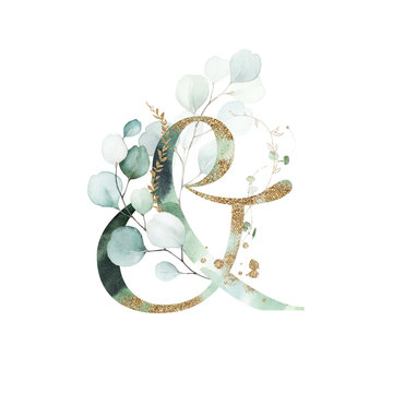Gold Floral Alphabet - ampersand & with gold and green botanic branch leaf bouquet composition. Unique collection for wedding invites decoration & other concept ideas.