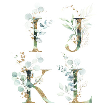 Gold Green Floral Alphabet Set - letters I, J, K, L with green leaves, botanic branch bouquet composition. Unique collection for wedding invites decoration and many other concept ideas.