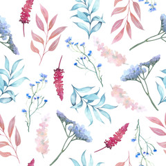 Botanical watercolor seamless pattern with branches and flowers on white background, for decoration and design of fabric and paper, invitations.