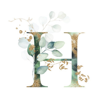 Gold Floral Alphabet - letter H with gold and green botanic branch leaf bouquet composition. Unique collection for wedding invites decoration & other concept ideas.
