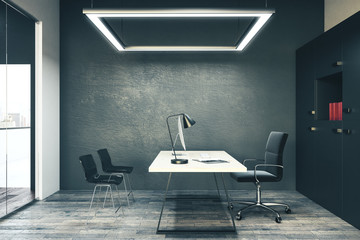 Wall Mural - Modern dark concrete office interior