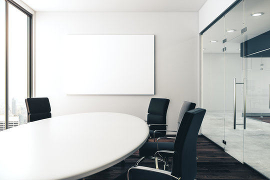 Conference room with empty poster