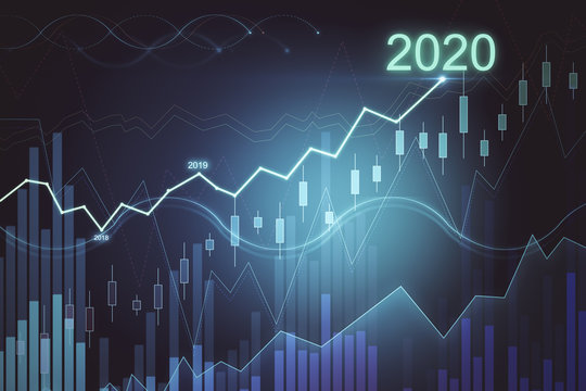 Glowing graph of success in 2020 year