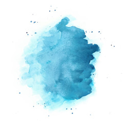 Blue Watercolor Vector Background. Round Stain Isolated on White.