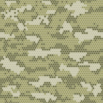 Khaki Digital camouflage seamless pattern. Vector abstract military camo background.