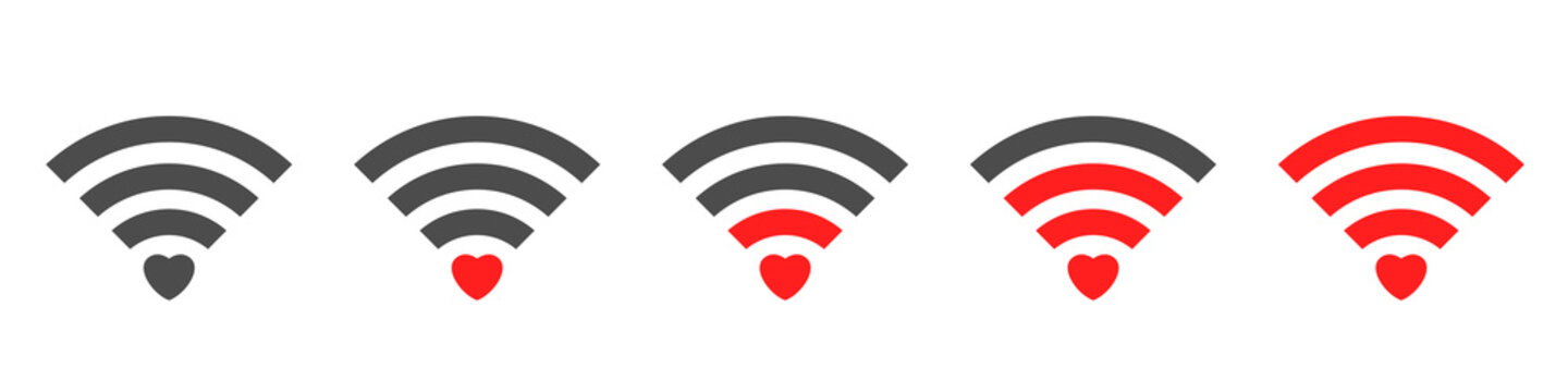 Wifi signal icon with red heart