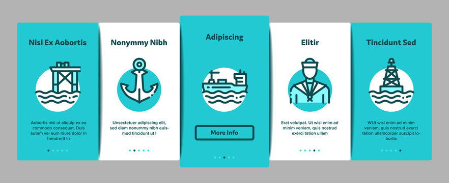 Marine Port Transport Onboarding Mobile App Page Screen. Port Dock And Harbor, Lighthouse And Anchor, Captain And Sailor, Crane And Ship Concept Illustrations