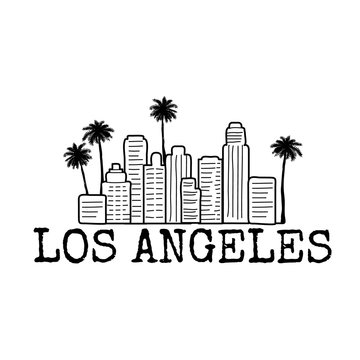 Los Angeles city line with palm trees. Line drawing.