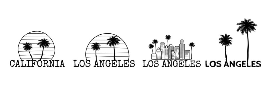 Los Angeles symbol set. Line drawing with palm tree silhouette. Cityline. Vector sketch illustration