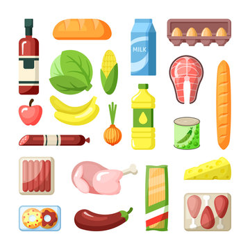 Common supermarket grocery products flat vector illustration set