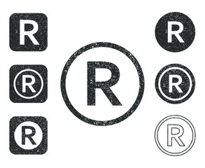 Grunge stamp Registered trademark copyright icon shape set. R letter logo symbol sign. Vector illustration. Isolated on white background. Intellectual property owner. Square and circle round button