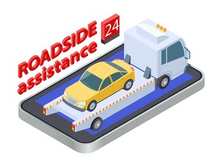 Road assistance concept. Isometric tow truck. Online roadside assistance, car service mobile app. Auto assistance, vehicle service roadside illustration