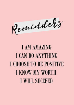 Daily reminder. Positive affirmations poster