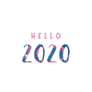 Hello 2020. New year 2020 card. Typography with paint splashes