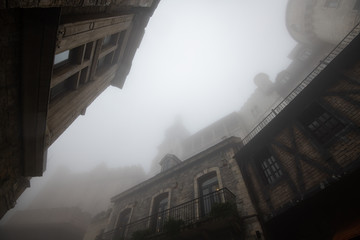 Old building in french village in the mist,Danang,Vietnam