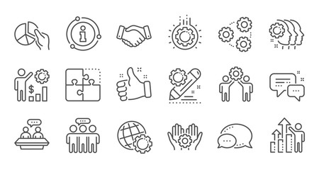 Employees benefits line icons. Business strategy, handshake and people collaboration. Teamwork, social responsibility, people relationship icons. Linear set. Quality line set. Vector