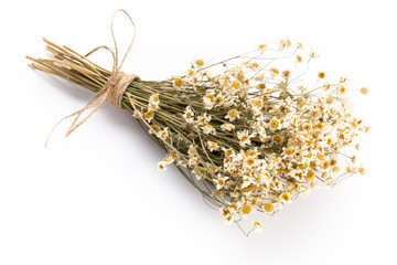 Composition with chamomile flowers and homemade cosmetic, essential oil, sopa,  on white background, top view.