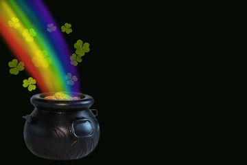 St.Patrick 's Day. Cauldron with gold, rainbow and clover leaves on a black background. Place for text, copy space.