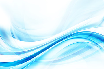 Wall Mural - Design trendy element. Blue modern bright waves art. Blurred pattern effect background. Abstract creative graphic illustration. Decorative business concept.