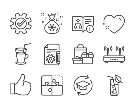Set of Business icons, such as Cocktail, Technical algorithm, Wifi, Water glass, Service, Documentation, Heart, Shopping, Puzzle, Like, Continuing education, Santa sack line icons. Vector