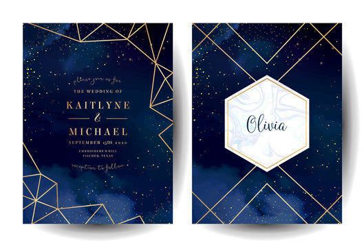 Magic night dark blue cards with sparkling glitter and line art.