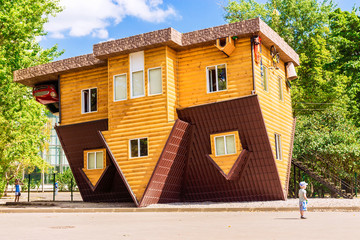 "MOSCOW, RUSSIA -5 AUGUST, 2015: Exhibition of Achievements of the National Economy. An unusual house. ""The House-Perevertysh"" - a unique interactive attraction"
