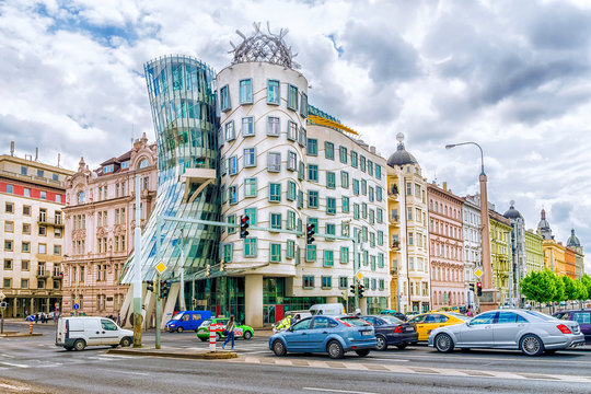 PRAGUE, CZECH REPUBLIC -21 MAY, 2016: The Dancing House was designed by architects Milunic and Gehry. Modern building stands on Rasin Embankment.