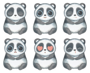 Kawaii cartoon cute panda bear with big eyes in six versions with different emotions isolated on white background. Watercolor hand drawn illustration