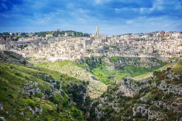 "Matera (Basilicata) - The wonderful stone city of southern Italy, a tourist attraction for the famous ""Sassi"", designated European Capital of Culture for 2019, panoramic view, Puglia, Italy"