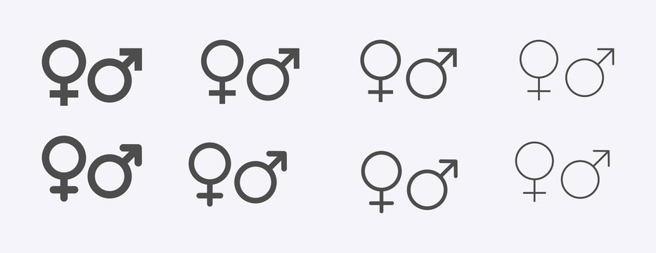Male female sign, men women symbol, toilet wc vector icon set, gender collection, flat simple design illustration isolated on white