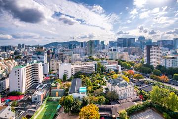 Aluminium Prints Seoul aerial view of seoul city south korea