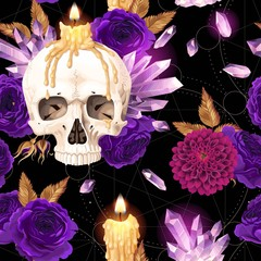 Seamless pattern with candle and human skull