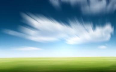 Grass and blue sky motion blur Wall mural