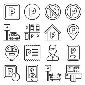 Car Parking Icons Set on White background. Line Style Vector