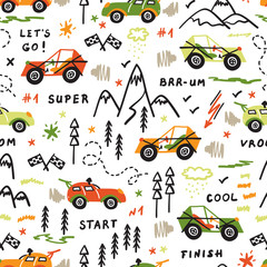 Toy Racing Cars Vector Seamless Pattern with Doodle Buggy Car and Highlands. Cartoon Transportation Background for Kids