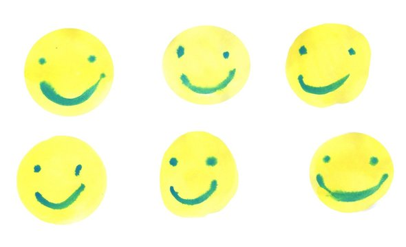 6 different smiley pairs yellow heads smiling face joy smile drawing water color painting