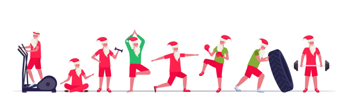 set santa claus doing different exercises training workout healthy lifestyle concept christmas new year holidays celebration horizontal full length vector illustration