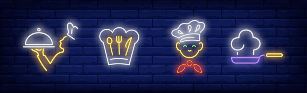 Chef neon sign set
